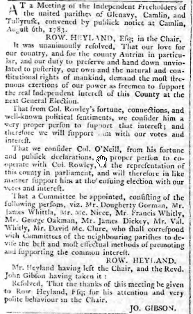 Belfast Newsletter 5 Aug 1783