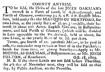 Belfast Newsletter 19 Oct 1802