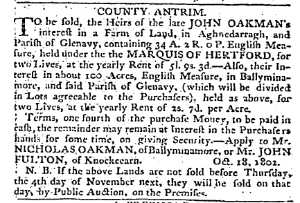 Belfast Newsletter 22 Oct 1802